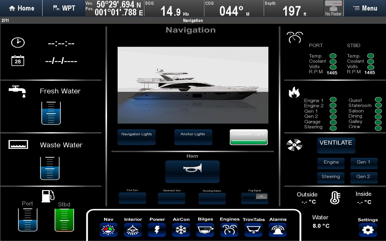 Diseño de pantalla dividida Digital Switching | Raymarine by FLIR